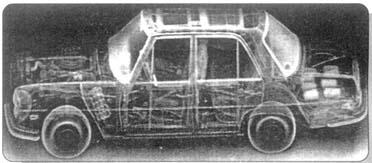 """Рис. 4. Изображение легкового автомобиля в обратно рассеянном рентгеновском излучении, полученное с помощью системы """"MOBILSEARCH""""."""